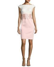 NWT Tadashi Shoji Iwaki Off Shoulder Colorblock Sequin Dress Pale Pink size 18