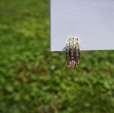Solid 10K Yellow Gold 3-Row Diamond Single Huggie Earring Omega (French) Back