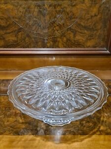 Crystal Cake Stand Platter Serving Glass vintage retro large dessert