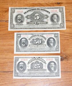 (3) MEXICO Sonora 5 PESO,  50¢, & 25¢ Notes  1913 1915