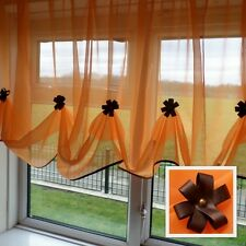 Beautiful Orange Voile Net Curtain with Various Colours Piping