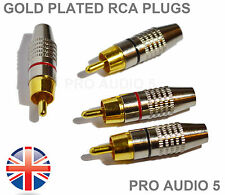 4x Gold Plated RCA Phono Plugs - 2 Pair - For Amps Hi-Fi - Audiophile - UK Post