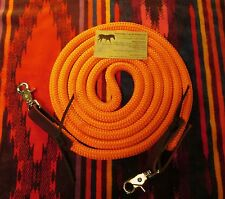 Rose Lodge 8' ORANGE Barrel Roping Trail Yacht Rope Loop Reins Leathers USA