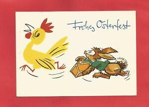 AK DDR von Ostern Künstlerkarte, Hahn Osterhase, 1964, Neubert Karte, selten