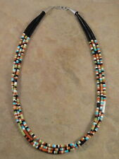 Santo Domingo 3 Strand Rolled Pipestone Turquoise Shell & Jet Necklace