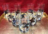 10 pc Set Vintage Mallard Duck Fowl Rock Low High Ball Glassware Whiskey Glasses
