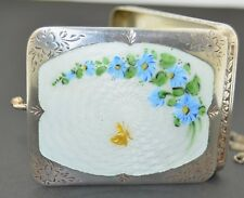 Sterling Silver Guilloche Enamel Compact Purse With a Gold Butterfly Art Deco