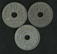 Lot 3 X 10 Ct Lindauer Zinc 1943 / 1944 et 1945 B