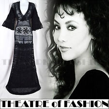 VINTAGE 70s DRESS MONSOON CROCHET S M UK 8 10 12 14 16 LACE WEDDING 30s BOHO 60s