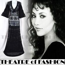 Vintage 70s Vestido Monsoon Crochet S M Reino Unido 8 10 12 14 16 30s 60s Boho de boda de encaje
