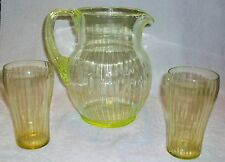 Antique Vaseline Glass Ribbed Pitcher w/ Two Tumblers Reeded Handle 1930's