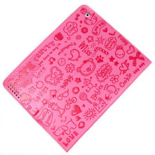 Cute Pink PU Leather Case Cover Folding Stand & Screen Protector for iPad 2 3 4