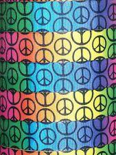 """5 yards 7.8"""" Groovy Rainbow Peace Signs Grosgrain Ribbon"""