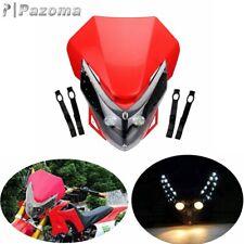 LED Naked Motorcycle Headlight Fairing Streetfighter Enduro Cross Universal Red