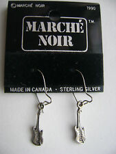 Sterling Silver Guitar Dangle Hook Earrings New