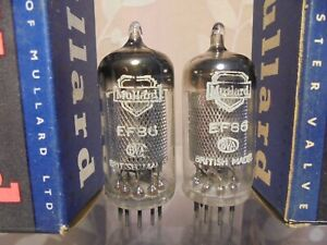 MULLARD EF86 PAIR OF SQUARE GETTER BRITISH BLACKBURN LONG PLATE VINTAGE VALVES