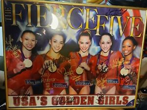 The Fierce Five 2012 USA's Golden Girls Gymnastics Olympic Poster Autographed