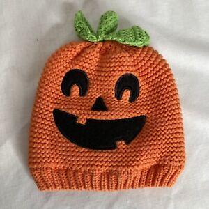 Carters Baby Halloween Pumpkin Knit Hat Orange 3-9 months Jack-O-Lantern Infant