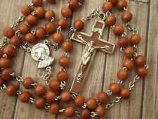 Vintage Catholic Rosary Brown Cocoa wood beads heavy duty metal Crucifix