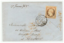 France Cover - 1855 Paris to London (UK) - Rare cancellation