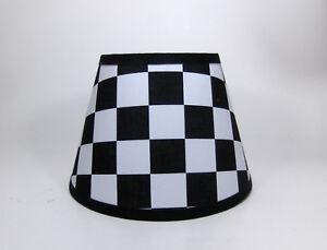 NASCAR Black White Checkered Flag Auto Racing  Fabric Lampshade Lamp Shade