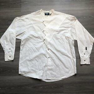 Brooks & Dunn Mens 17.5 35/36 Asymmetrical Button Western Shirt White USA Made