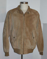 MEN'S ORVIS LIGHT BROWN SUEDE LEATHER BOMBER HARRINGTON JACKET! PLAID LINING! M