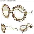 New Oversized Exaggerated Retro SUNGLASSES Funky Round Frame Gold Bling Crystals