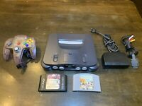 Nintendo 64 N64 System / Console Bundle + Cables + 1 Controller + 2 Games 🔥