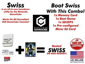 +SWISS GameCube Memory Card Booting SWISS SD Loader SD2SP2 Combo Plug and Play