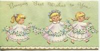 VINTAGE BLONDE PRETTY CHILDREN GIRLS DRESSES DAISY GARLAND FLOWER GREETING CARD