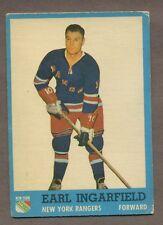 1962-63 Topps Hockey No. 51 Rangers Earl Ingarfield Vg