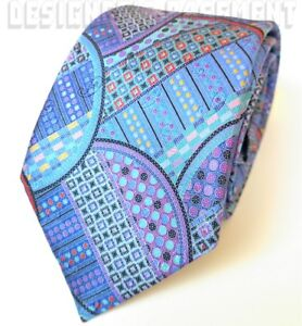 ERMENEGILDO ZEGNA Limited Edition QUINDICI blue Geometric silk Tie NWT Authentic