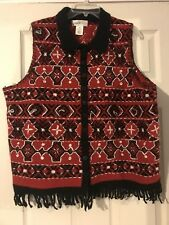 Susan Bristol Wool Button Front Collared Embroidered Sweater Vest - 1W