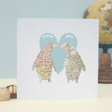 Penguins In Love Map Personalised Keepsake Card - FREE 1st Class P&P