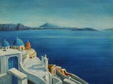 Dipinto Olio su Tela - 30x40 cm - Santorini - Quadro Paesaggio Mare Case Costa