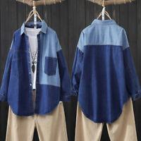 ZANZEA Femme Chemise en Jean Confor Poches Couture Manche Longue Haut Tops Shirt