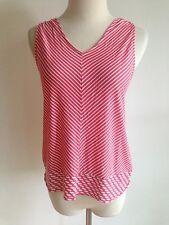 Banana Republic Petite Blouse Rosy Pink & White Diagonal Stripes Size XS