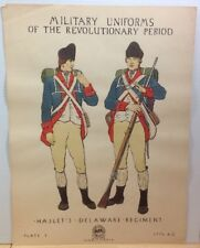 Vintage Military Uniforms Revolutionary Period Poster WPA Haslets Plate 7 1776