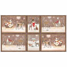 "Christmas Animal Snow Sleigh Brown Cotton Fabric QT Woodland Dream 24""X44"" Panel"