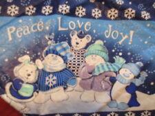 "Vintage Tablecloth Flannel Felt back  60"" round Blue snowflakes joy peace love"