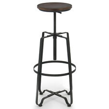 Rustic Bar Stool Adjustable Swivel Top Chair Industrial Vintage Steel  Armless