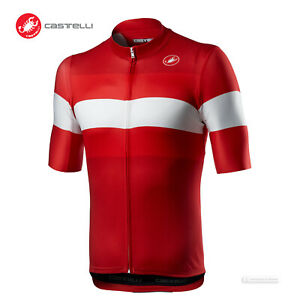 NEW 2021 Castelli LAMITICA Short Sleeve Full Zip Cycling Jersey : RED