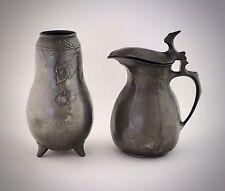 Kayserzinn Krug und Vase Jugendstil guter Zustand Pewter Art Nouveau
