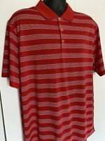 Nike Golf Dri Fit Mens Red Striped Short Sleeve Polo Shirt Size Large