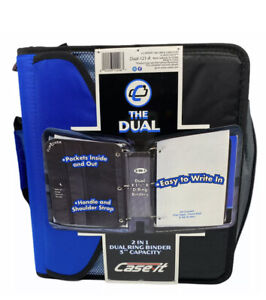 """Case-It 2 In 1 Dual Ring Binder 3"""" Capacity With Handle And Strap Black/Blue New"""