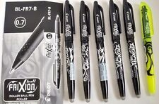 6 X PILOT FRIXION ROLLER BALL ERASABLE PEN 0.7mm - 5 x Black & 1 x Highlighter