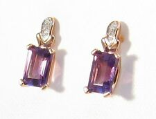 9 Carat Amethyst Rose Gold Fine Earrings