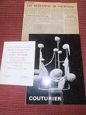 LIVRE SCULPTURES COUTURIER 1970 + CARTON D'INVITATION ( ref 51 )