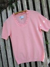 Vintage blouse top shirt Pink knit summer sweater Exmoor nylon ruffle collar
